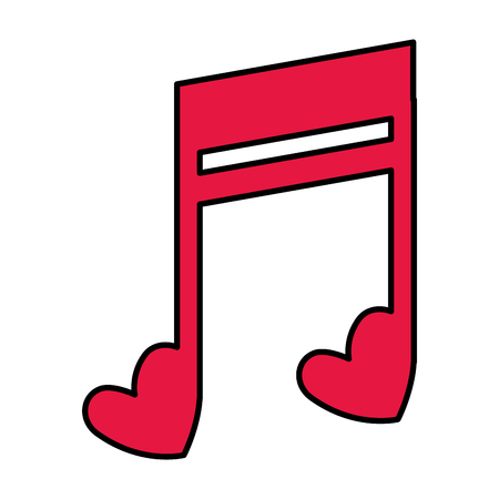 music note with hearts vector illustration design