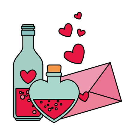 envelope with heart and bottles drink vector illustration design