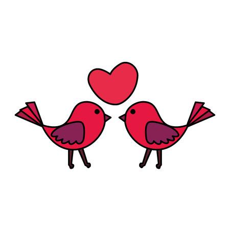 Pareja de pájaros con corazón amor, diseño de ilustraciones vectoriales