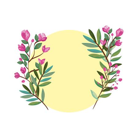 wreath with beautiful rosebush decoration vector illustration design