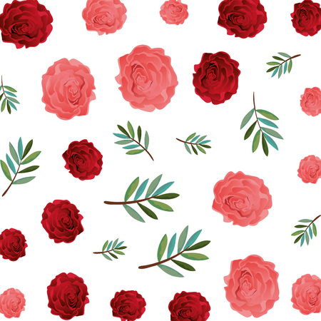 beauty rose with leafs pattern vector illustration design