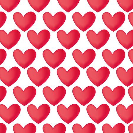 red hearts love pattern vector illustration design