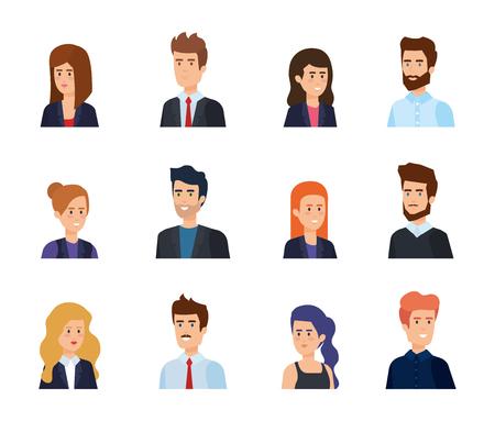 gruppo di uomini d'affari avatar caratteri illustrazione vettoriale design Vettoriali