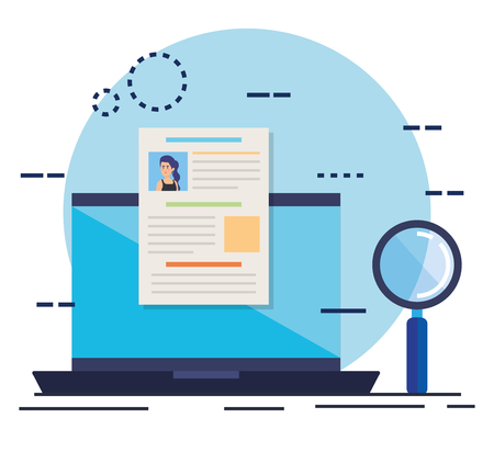 curriculum vitae in laptop with magnifying glass vector illustration design