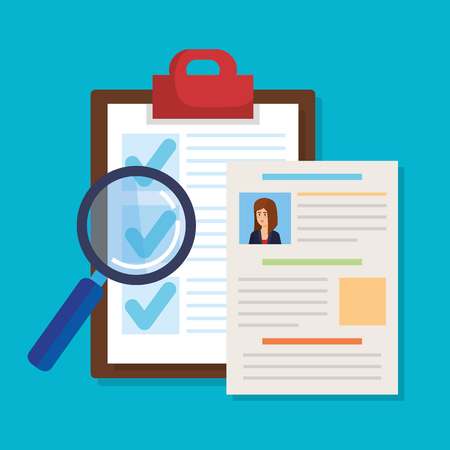 curriculum vitae with checklist and magnifying glass vector illustration design Illustration