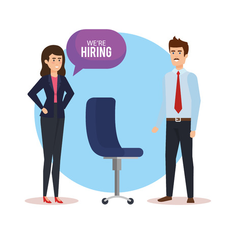 business couple talking we are hiring vector illustration design