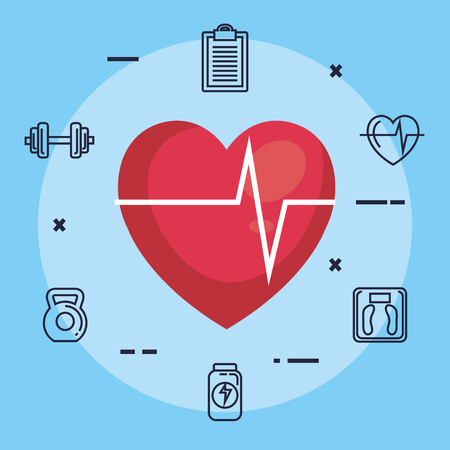 heart cardiology with fitness icons vector illustration design