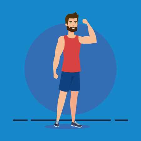 athletic man avatar character vector illustration design