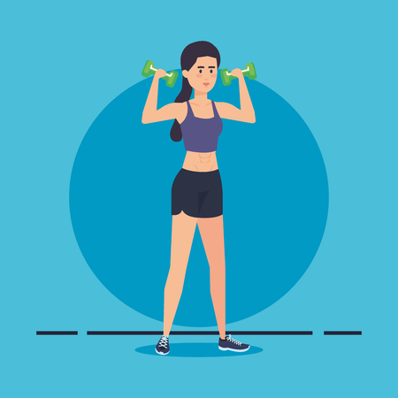 strong woman lifting weight vector illustration design Archivio Fotografico - 126773930