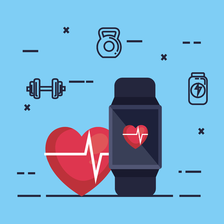 smartwatch with fitness app vector illustration design