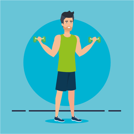 strong man lifting weight vector illustration design