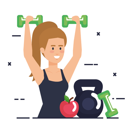 strong woman lifting weight vector illustration design Banque d'images - 113900925