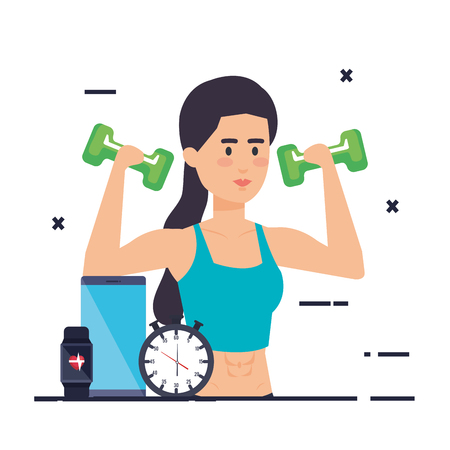 strong woman lifting weight vector illustration design Archivio Fotografico - 126773949