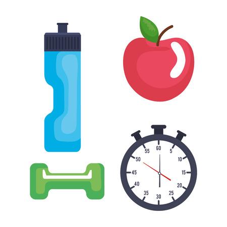 fitness lifestyle set icons vector illustration design