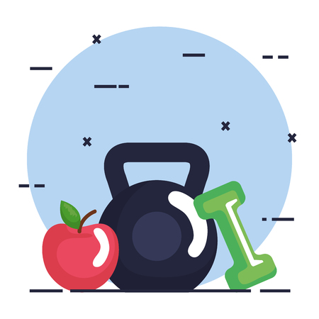 weight lifting dumbbell with fitness icons vector illustration design
