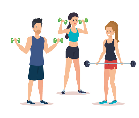 strong people lifting weight vector illustration design
