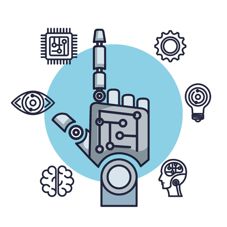 robotic hand artificial intelligence icons vector illustration design Ilustrace