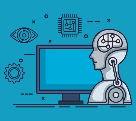 robotic profile artificial intelligence icons vector illustration design Stok Fotoğraf - 113901204