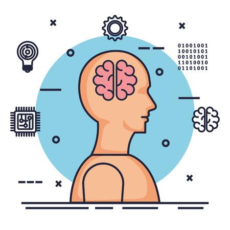 human profile artificial intelligence icons vector illustration design