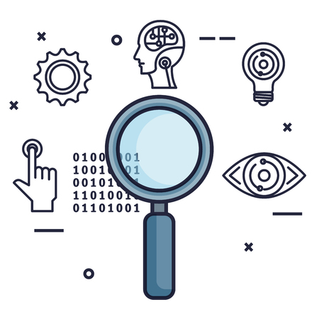 magnifying glass with artificial intelligence icons vector illustration design Vektorové ilustrace