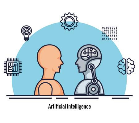 robotic profile artificial intelligence icons vector illustration design Stok Fotoğraf - 126773987