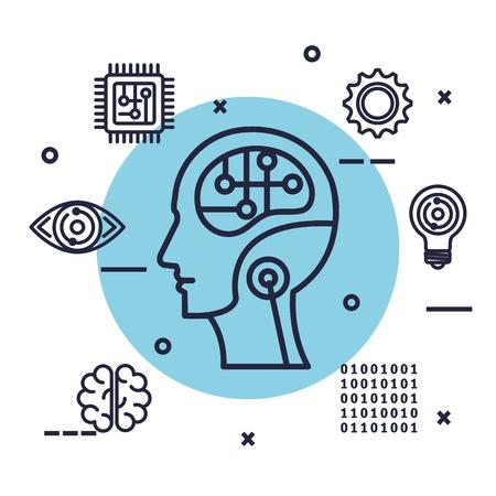 robotic profile artificial intelligence icons vector illustration design Çizim