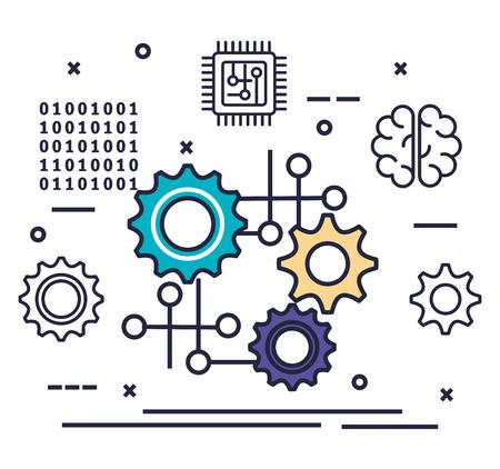 Engranajes con inteligencia artificial, diseño de ilustraciones vectoriales iconos Ilustración de vector