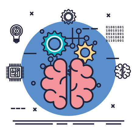 brain with artificial intelligence icons vector illustration design Stok Fotoğraf - 113901718