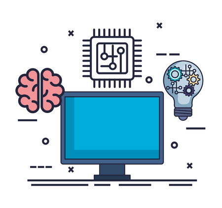 computer with artificial intelligence icons vector illustration design Ilustracja