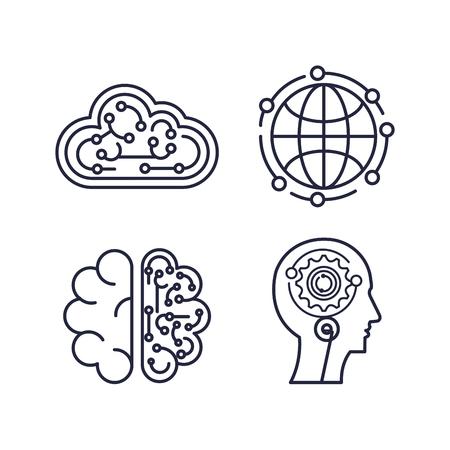 artificial intelligence set icons vector illustration design