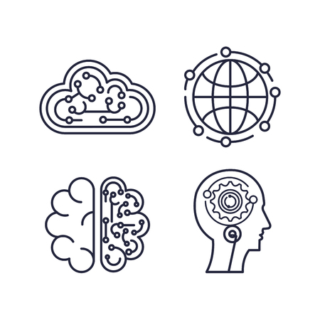 artificial intelligence set icons vector illustration design