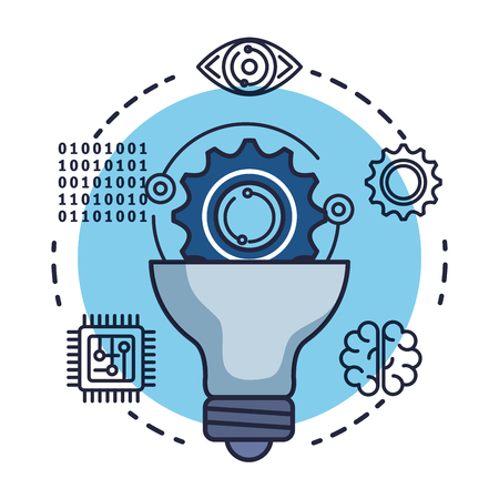 bulb with artificial intelligence icons vector illustration design Stok Fotoğraf - 126773998