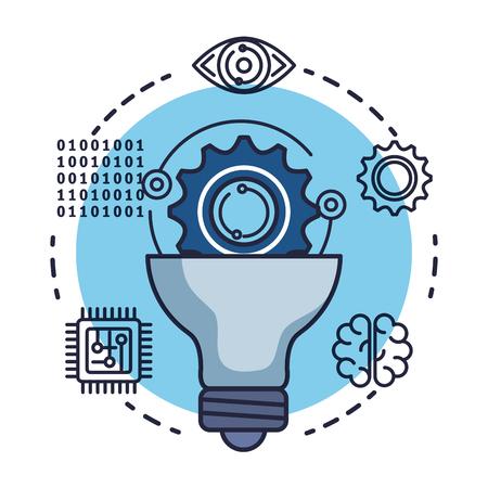 Glühbirne mit künstlicher Intelligenz Icons Vector Illustration Design