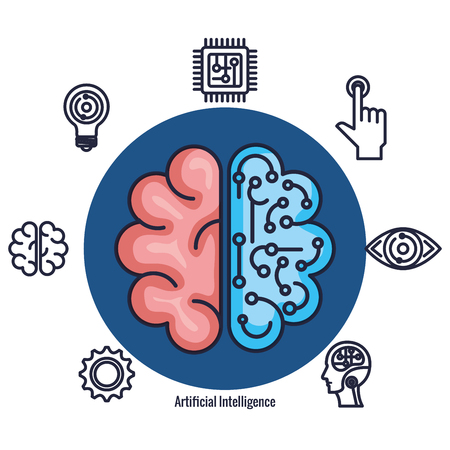 brain with artificial intelligence icons vector illustration design Stok Fotoğraf - 126773999
