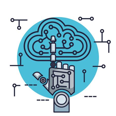 Roboterhand mit künstlicher Intelligenz Icons Vector Illustration Design Vektorgrafik