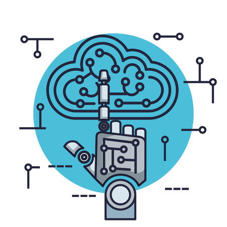 robotic hand with artificial intelligence icons vector illustration design Stok Fotoğraf - 126774003