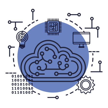 cloud computing with artificial intelligence icons vector illustration design Stok Fotoğraf - 126774007