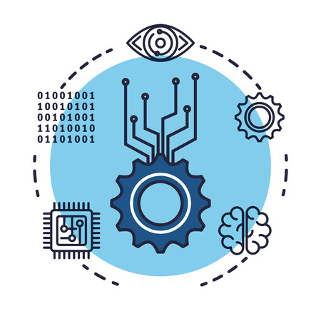 gears with artificial intelligence icons vector illustration design