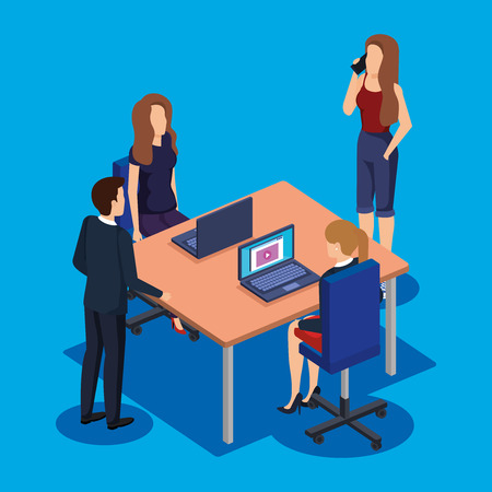 business people in the workplace vector illustration design Archivio Fotografico - 113904994