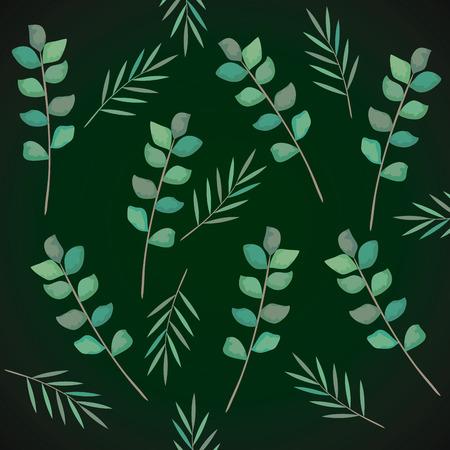 branch with leafs pattern vector illustration design Vektorgrafik