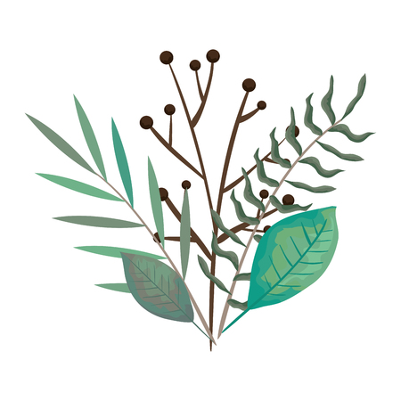 branch with leafs set styles icons vector illustration design Illustration