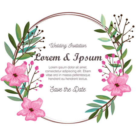 invitation card with beautiful flowers and leafs vector illustration design Фото со стока - 113924301