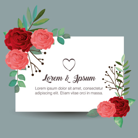 card with beautiful rosebush vector illustration design Illustration