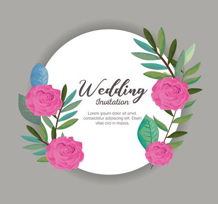 card with wreath of beautiful rosebush vector illustration design Illustration