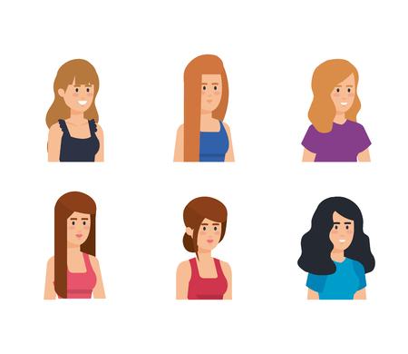 group of girls avatars characters vector illustration design