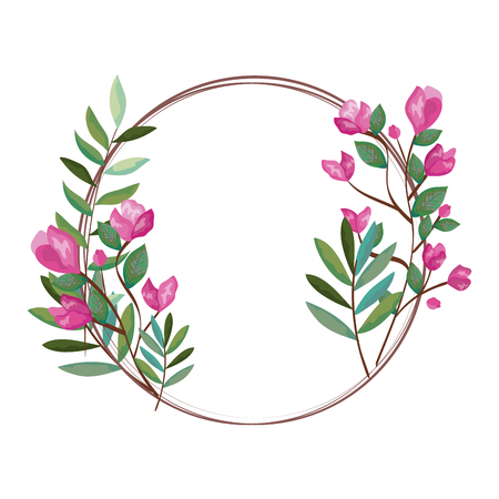 wreath with beautiful rosebush decoration vector illustration design Illusztráció