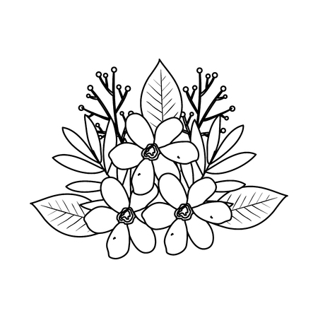 beautiful flowers and leafs decoration vector illustration design