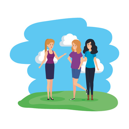 group of women in the park characters vector illustration design