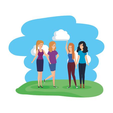 group of women in the park characters vector illustration design Banco de Imagens - 126774351