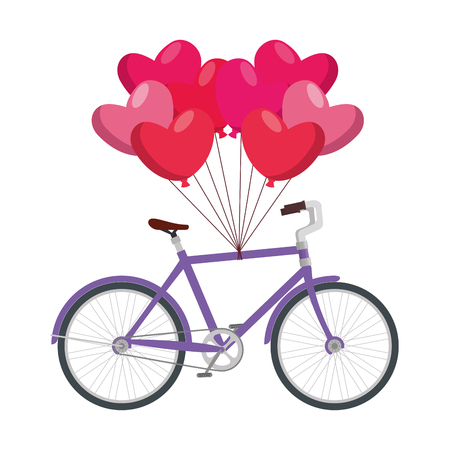 racing bicycle and balloons air with shape heart vector illustration design